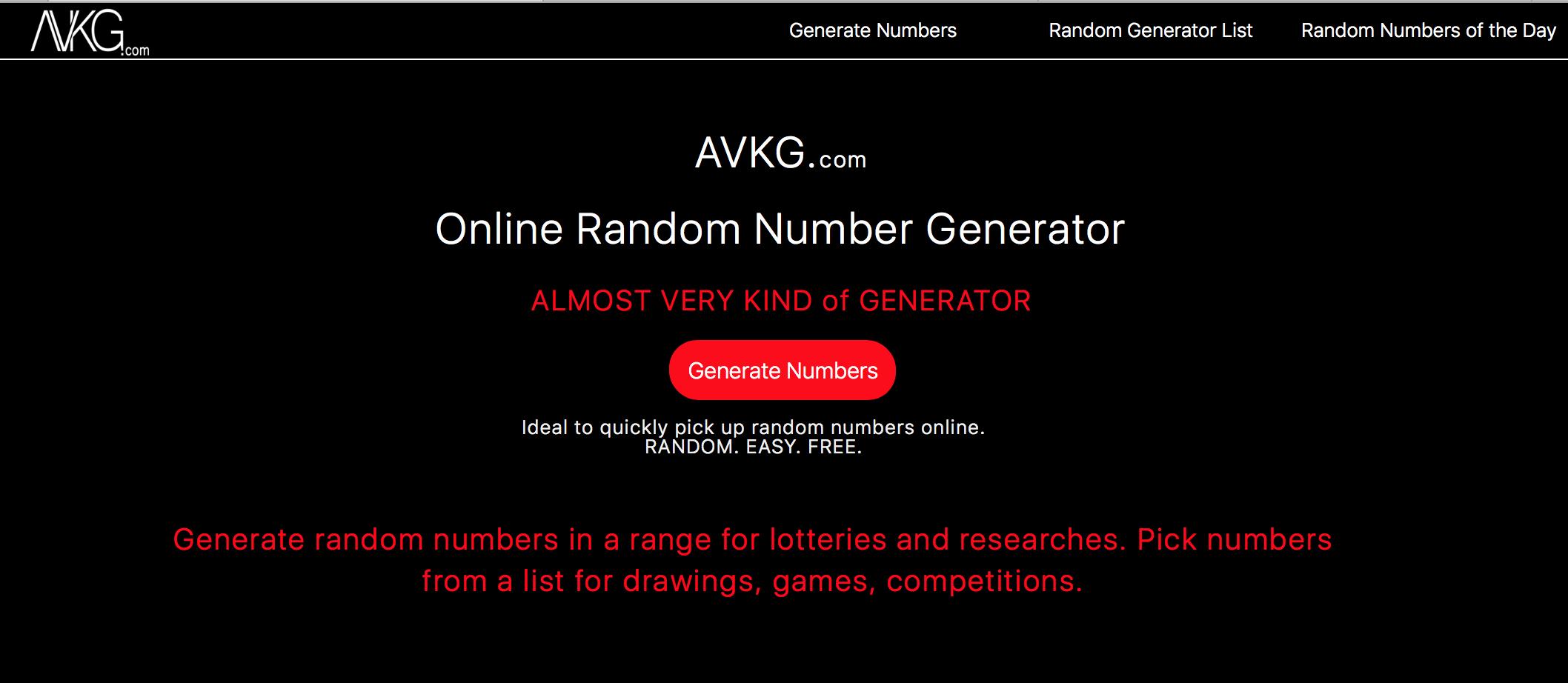 Online random number generator - kiwinotes com
